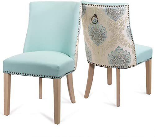 Barton Premium Set of 2 Parson Curved High-Back Dining Chair Armless Nailhead Trim Cushion Seat Back Ring Pull