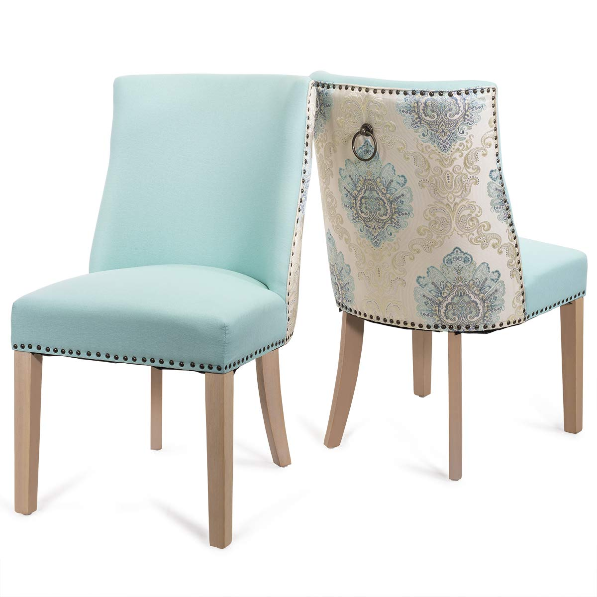 Barton Premium Set of 2 Parson Curved High-Back Dining Chair Armless Nailhead Trim Cushion Seat Back Ring Pull Aqua Blue w Pull Ring