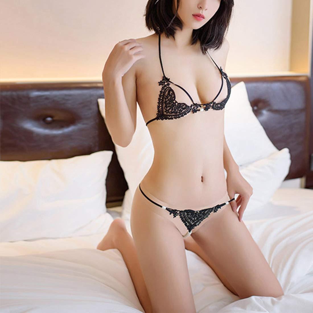 Diversión sexy Shiduoli Body de Tres Puntos Puntos Puntos de Encaje Sexy para Dormir con Hueco y Perlas (Color : Black, Size : One Size) ed7a57