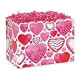 Large Watercolor Hearts Basket Boxes - 10 1/4 x 6 x 7 1/2in. - 72 Pack