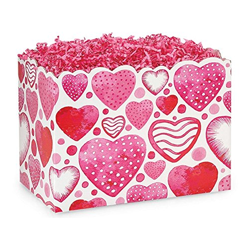 Large Watercolor Hearts Basket Boxes - 10 1/4 x 6 x 7 1/2in. - 72 Pack by NW