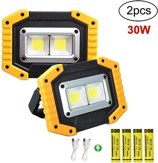 Longdafei paquete de 2 luces de trabajo LED portátiles, 30W ...