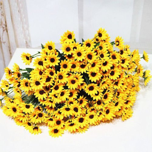 Grocery House 14 Heads Sunflower Bouquet Artificial Flower Bouquet Home Wedding Floral Decor