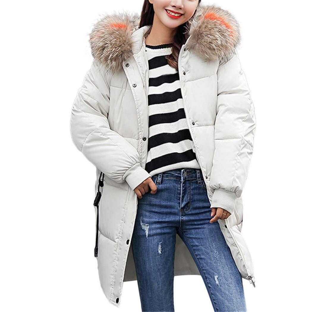 AOJIAN Women Jacket Long Sleeve Outwear Hooded Plush Quilted Button Zipper Pocket Solid Coat White by AOJIAN
