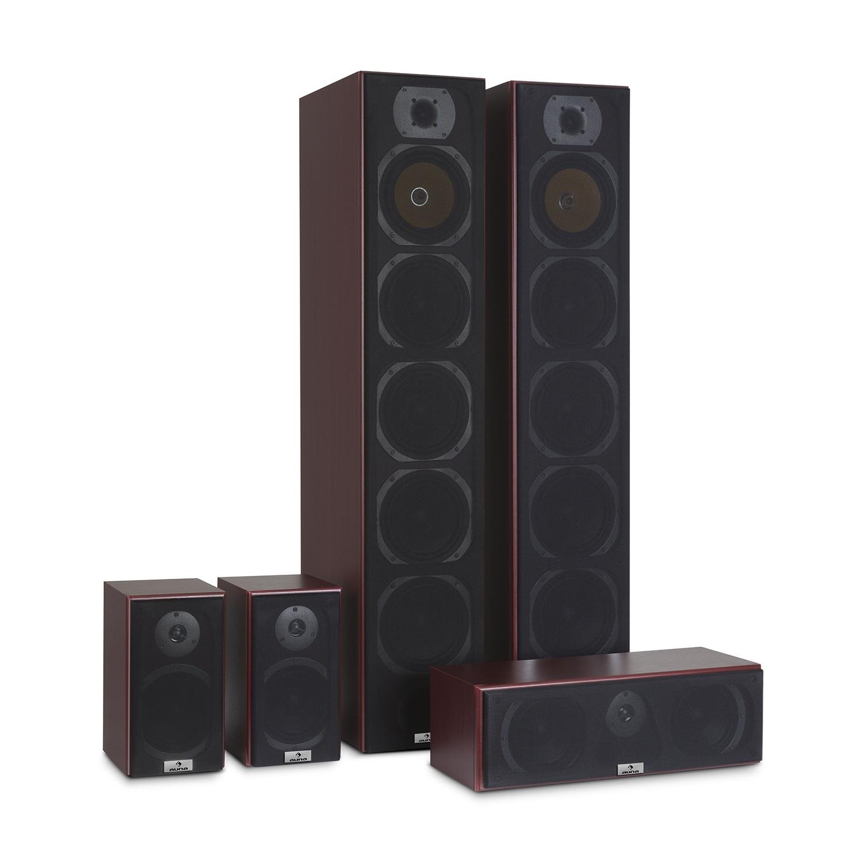 auna V9B Juego de Altavoces • Set 5 Altavoces • Home Cinema • Equipo de Sonido Envolvente • Bassreflex con Cubierta veteada • 400 W Pot. Media • Montaje en Pared • Frecuencia 20 Hz a 20 kHz • Caoba