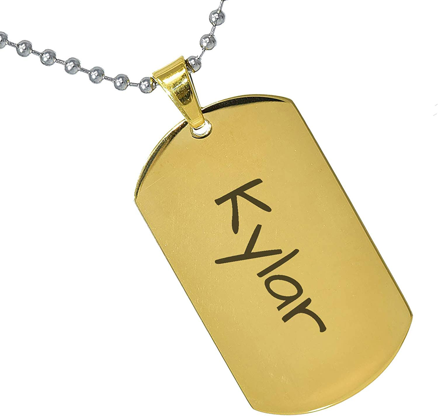Stainless Steel Silver Gold Black Rose Gold Color Baby Name Kylar Engraved Personalized Gifts For Son Daughter Boyfriend Girlfriend Initial Customizable Pendant Necklace Dog Tags 24 Ball Chain