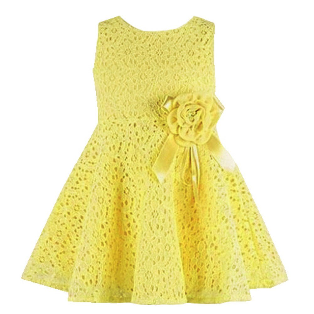 Internet Cute Toddler Kids Girls Lace Hollow Floral Dress for 0-2 Years Old
