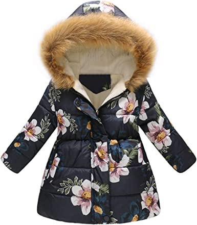 GorNorriss Baby Girl Coat Toddler Floral Winter Thick Warm Jacket Hooded Windproof