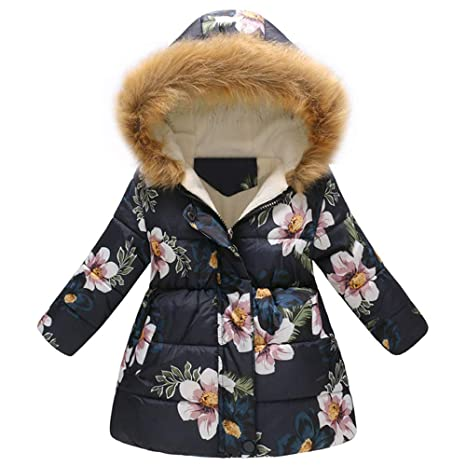 1533442c6093 Amazon.com  Voberry  Toddler Baby Girls Floral Coat Hooded Snowsuit ...