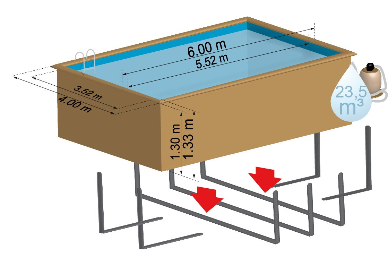 Piscina de madera GRE rectangular Evora Wooden Pool GRE 790094: Amazon.es: Juguetes y juegos