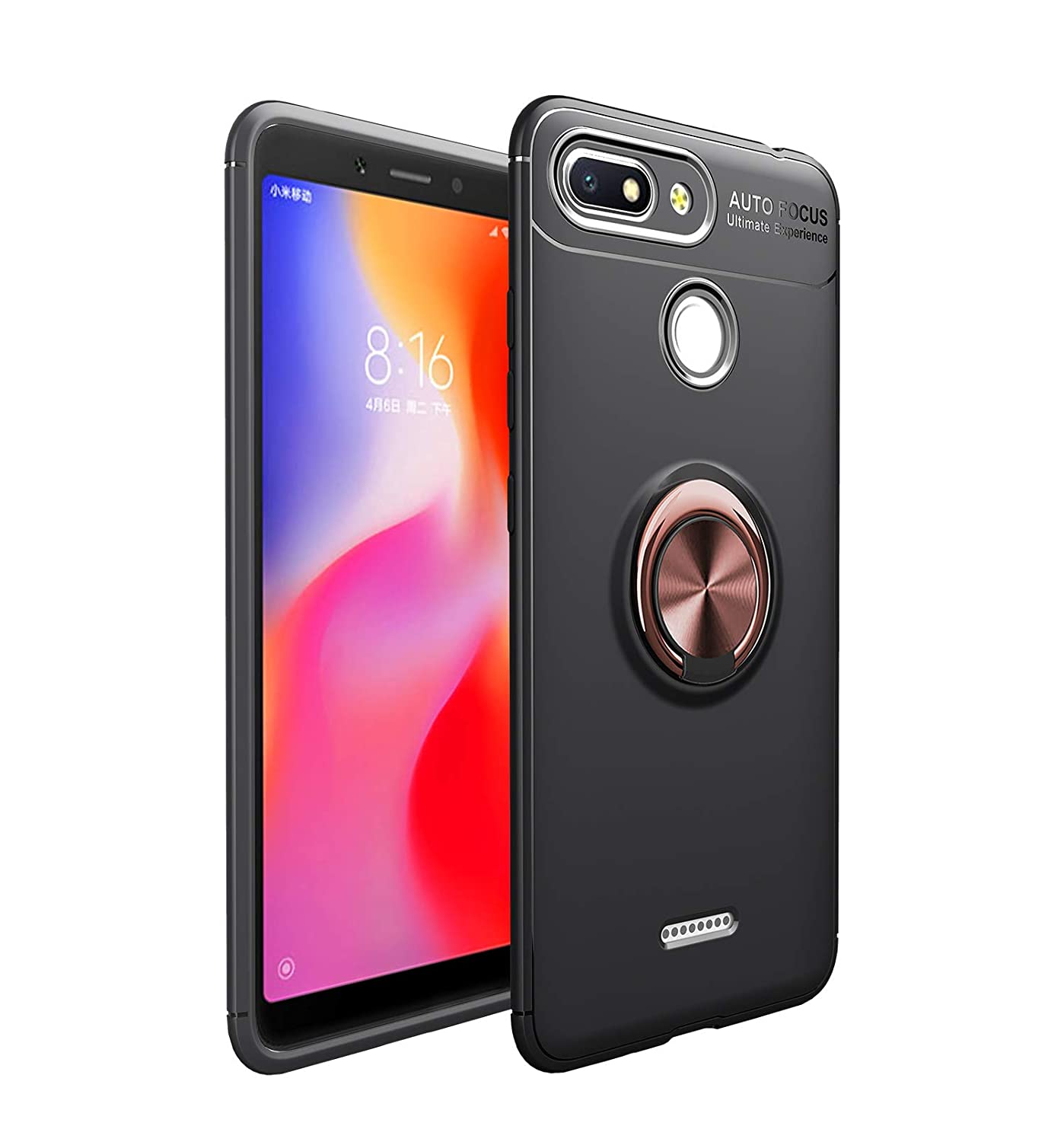 Xiaomi Redmi 6 with Ring Holder with Magnetic Car Mount Slim Protective Case