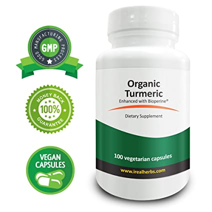 Real Herbs Turmeric Larga Raíz Orgánica de Cúrcuma 745mg y BioPerine® (5mg) - Hierba antioxidante y antiinflamatorio natural - 100 Capsulas Vegetarianas: ...