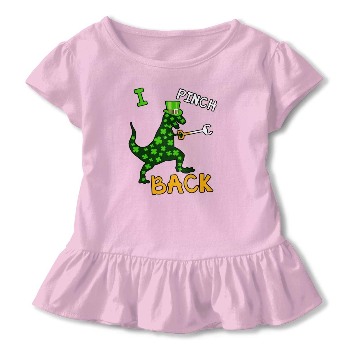 I Pinch Back Dinosaur St Patricks Day Toddler Baby Girls Cotton Ruffle Short Sleeve Top Cute T-Shirt 2-6T