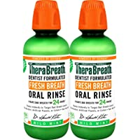 TheraBreath Fresh Breath, 24 Hour Dentist Formulated Oral Rinse, Mild Mint, 16 Oz (Pack of 2)
