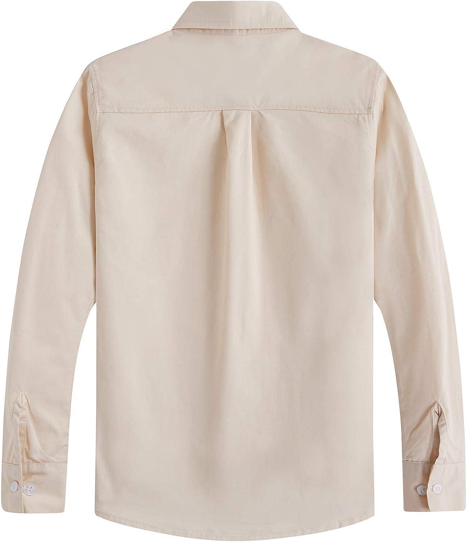 Spring/&Gege Camicia da ragazzo a maniche lunghe tinta unita uniforme formale in twill di cotone