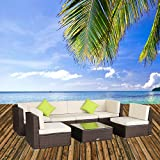 U-MAX 7 Pieces Patio PE Rattan Wicker Sofa Sectional Furniture Set (Small Image)