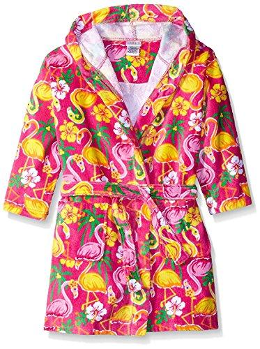 Girls Terry Cloth - Komar Kids Girls Flamingo Print Cotton Terry Robe Cover Up, Kids Size M(7/8)