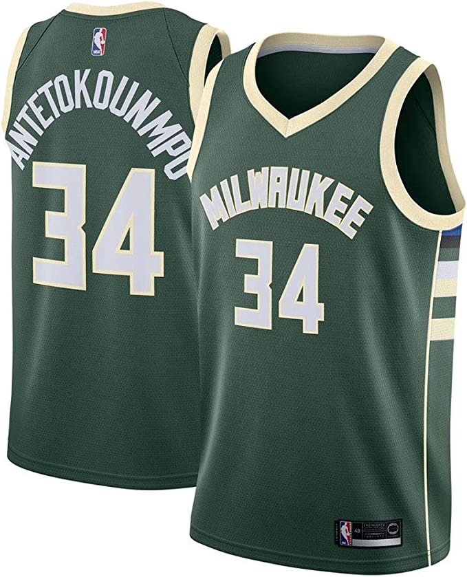 La Maglia da Basket,# 34 Giannis Antetokounmpo Nuovo Tessuto Ricamato RAAVIN Milwaukee Bucks Stile Sportivo