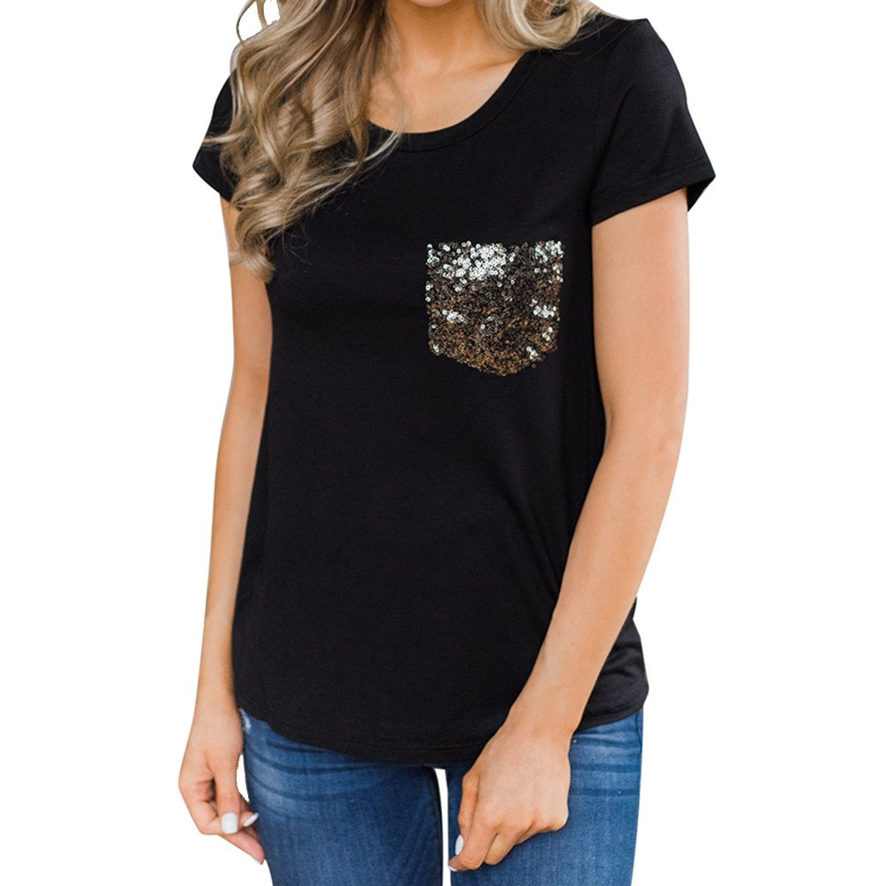Women T-Shirts Casual Short Sleeve Lady Sequined Pocket Short Sleeve Top Black