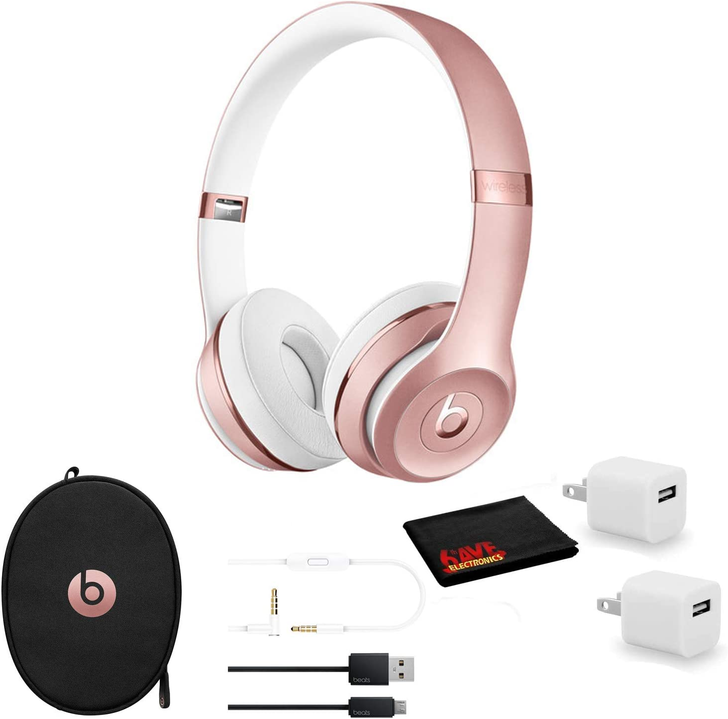 Amazon Com Beats By Dr Dre Beats Solo3 Wireless On Ear Bluetooth Headphones Rose Gold Kit With Usb Adapter Cube Home Audio Theater