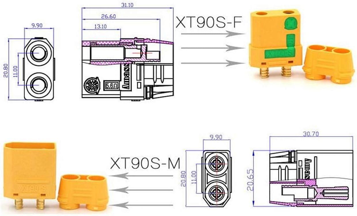 ARUNDEL SERVICES EU 1 pair Amass XT90S XT90-S Male Connector Bulletproof Female Spark Cover Spark Cover Bulletproof Case RC Lipo Battery Parts