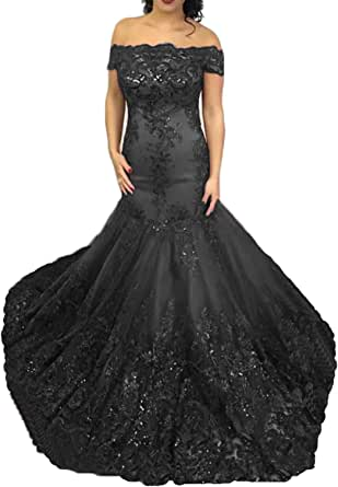 TTYbridal Sequins Mermaid Prom Dress Off Shoulder Sexy