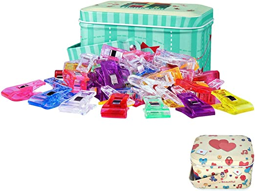 Quilting Crocheting 100 Pack Multicolor Sewing Clips Quilting Clips for Sewing Crafting and Knitting