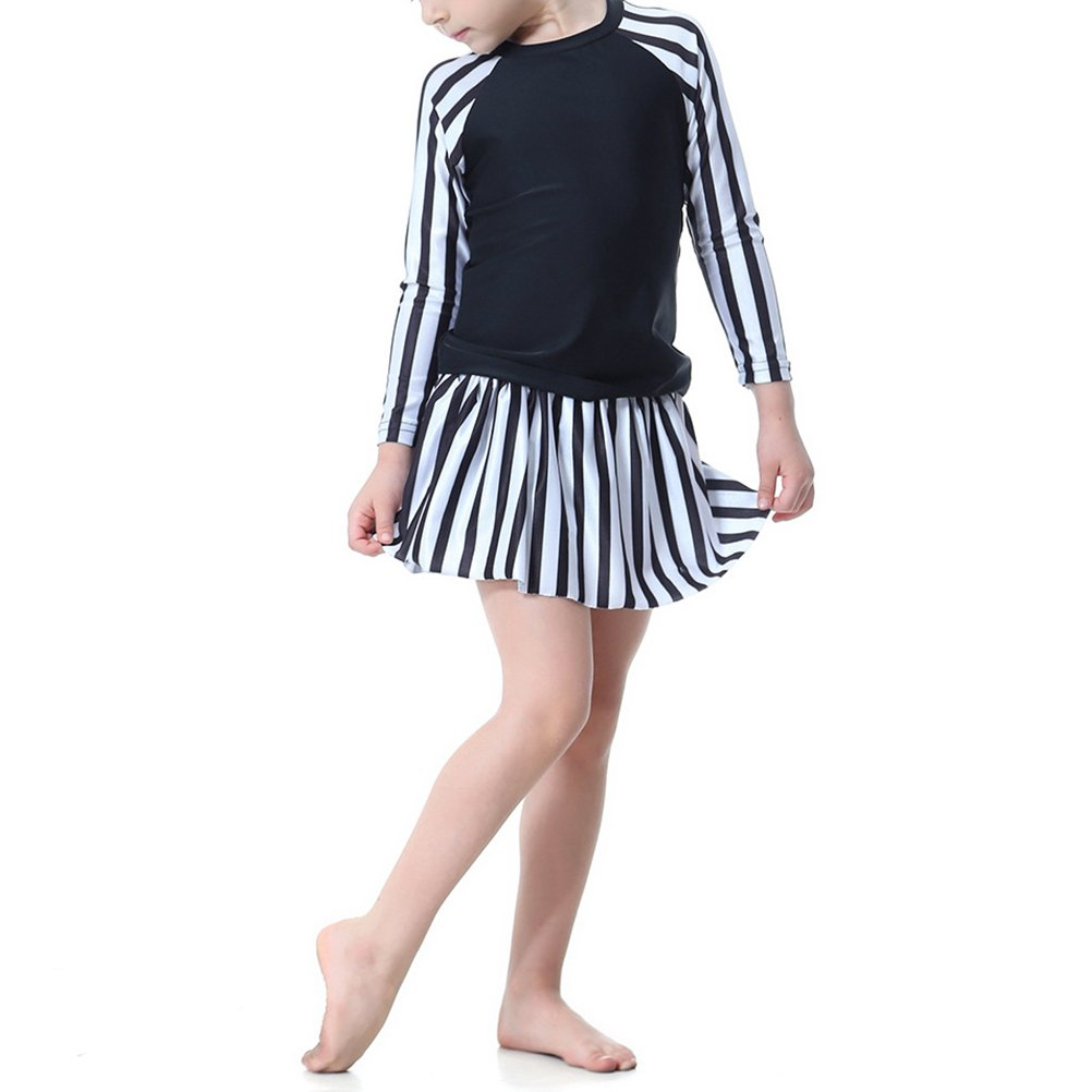 Zhuhaitf Girls Muslims Modesty Swimsuit Stripe Anti-Uv Skirt Burkini Long Sleeve