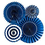 Monkey Home Basics Party Fans, Navy Color, Set of 4