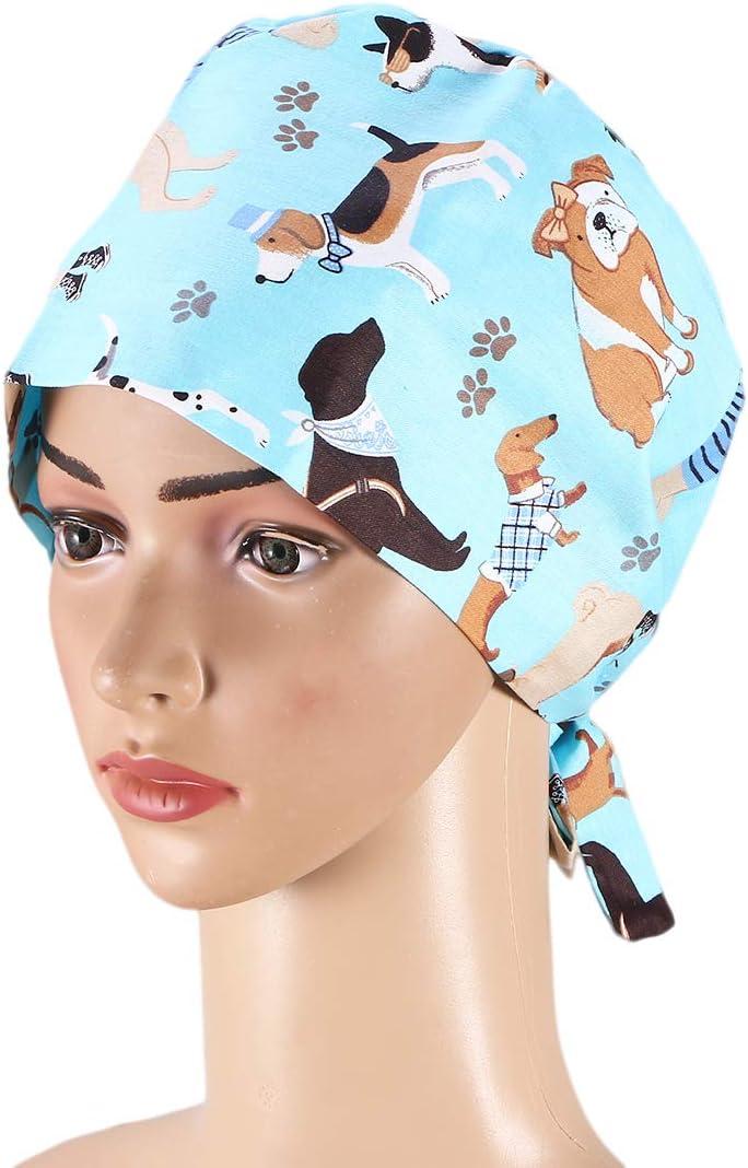 TENDYCOCO Gorro quirúrgico Doctor Enfermera Trabajo Gorro de cirugía Sombrero de algodón Gorro Traje Cosplay Tema Accesorios de Fiesta - Azul