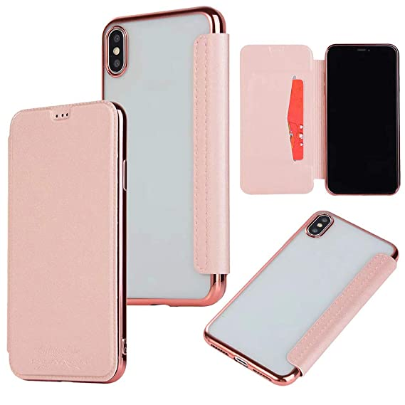 iphone xs flip case rose gold