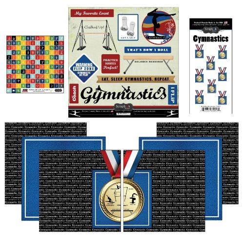 Gymnastics Scrapbook Stickers - Scrapbook Customs Go Big Gymnastics Themed Paper and Stickers Scrapbook Kit