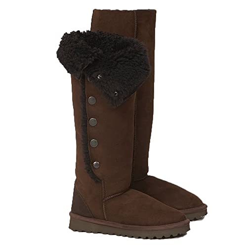 302bda120e5 Celtic   Co Womens British Sheepskin Popper Detail Knee Height Boots -  Mocca - Size 4