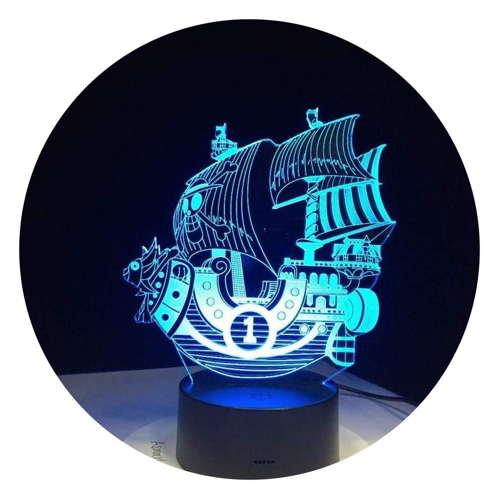 JINXUXIONGDI Visual Stereo Vision 3D Night Light Boat Sailing LED Lights 7 Color Visual LED Lights for Kids Touch USB Table As Lampe Baby Sleeping Night Light Home Decoration Lights Children's Decor