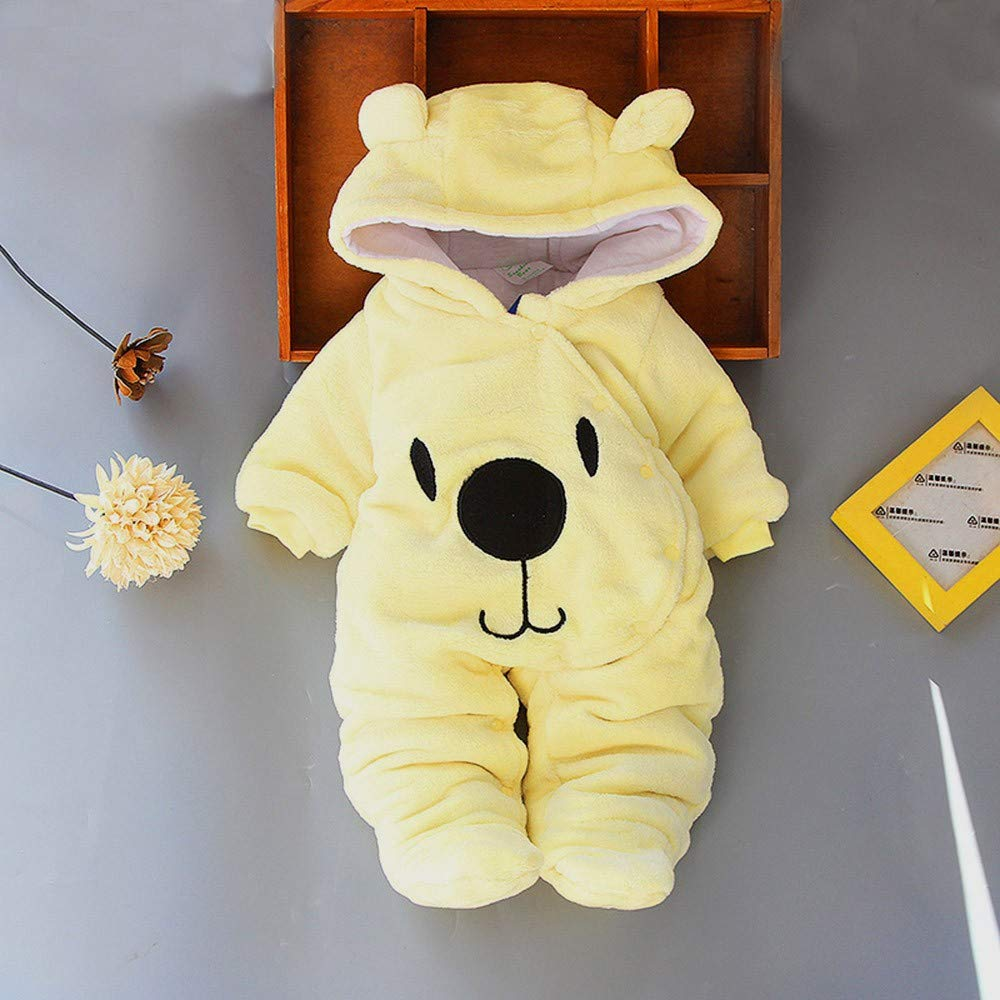 Lucoo Baby Jumpsuit Newborn Baby Girl Boy Solid Bear Velvet Hooded Jumpsuit Hooded Romper Clothes