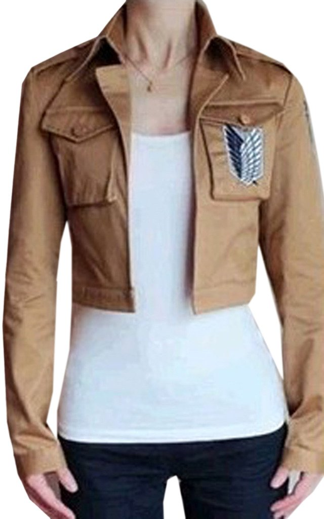 Buy-Box Women's Cos-me Attack on Titan Survey Corps Khaki Jacket Coat