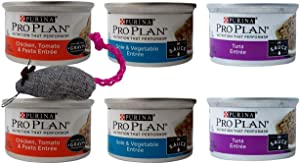 Purina Pro Plan Canned Wet Cat Food Entree 3 Flavor 6 Can Sampler Bundle with Catnip Mouse: (2) Chicken Tomato Pasta Gravy, (2) Sole Vegetable, and (2) Tuna Entree Sauce (3 Ounces)