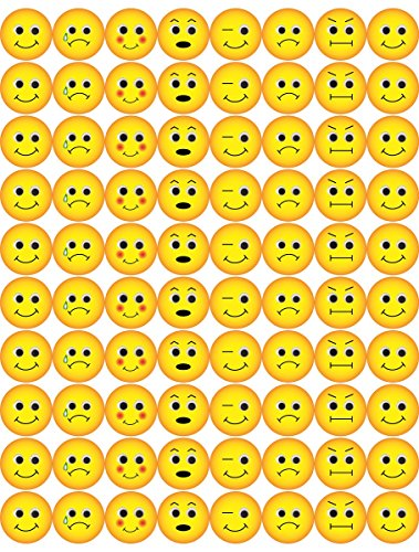 Hygloss Products Emoji Emoticon Stickers - 240 Stickers - 1/2 Inch, 3 Sheets