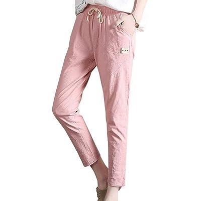 Rinalay ElegantePantalon Mujer Cintura Alta Pantalon Elásticos Pantalones Cordón Pantalon Lápiz Bolsillos Pants Mujer con 7/8 con Casual Streetwear Unicolor Moda Boyfriend: Ropa y accesorios