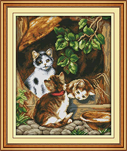 (YEESAM ART New Cross Stitch Kits Advanced Patterns for Beginners Kids Adults - Cute Brown Cats Family - DIY Needlework Wedding Christmas Gifts (Cat A, Stamped))