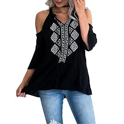 ADESHOP Femmes Bretelles Chic Shirt Femmes Tassel Up Mode Décontractée Blouse Tops T-Shirt Femmes Mousseline Col V Élégant Veste Tops Femmes Printemps et Automne Grande Taille Blouse