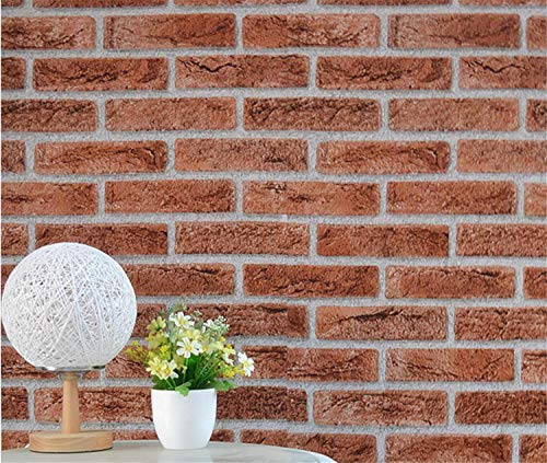 3D Wallpaper Faux Brick Peel and Stick Wallpaper Self-Adhesive Brick Textured Wallpaper Removable Stone Wallpaper Shelf Paper for Home Decoration ()
