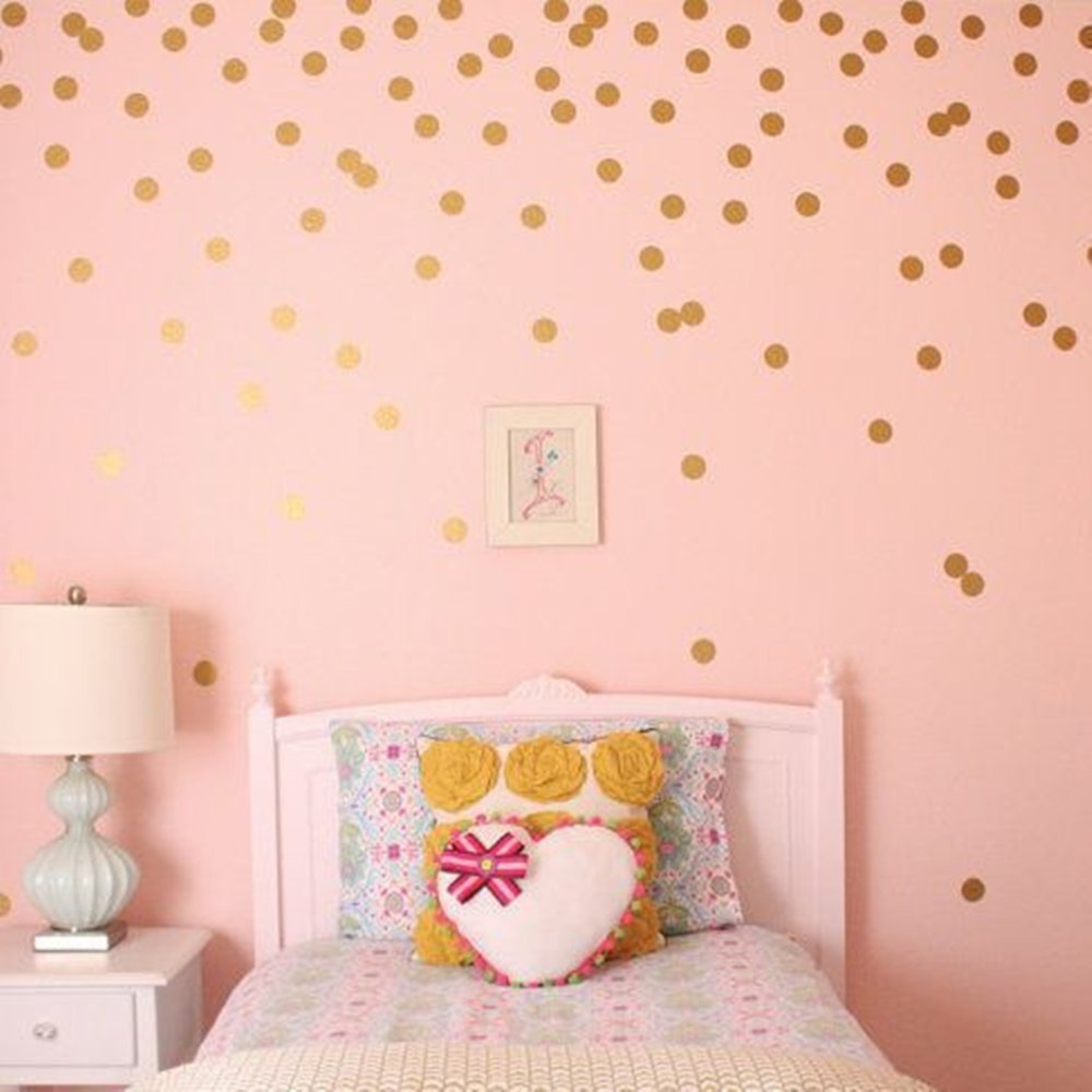 Wall Stickers Gold Polka Dot?52 Decals/Diameter 4cm) Removable Peel and Stick Circle Wall Decals for Nursery Kid's Room Mirrors Doors,
