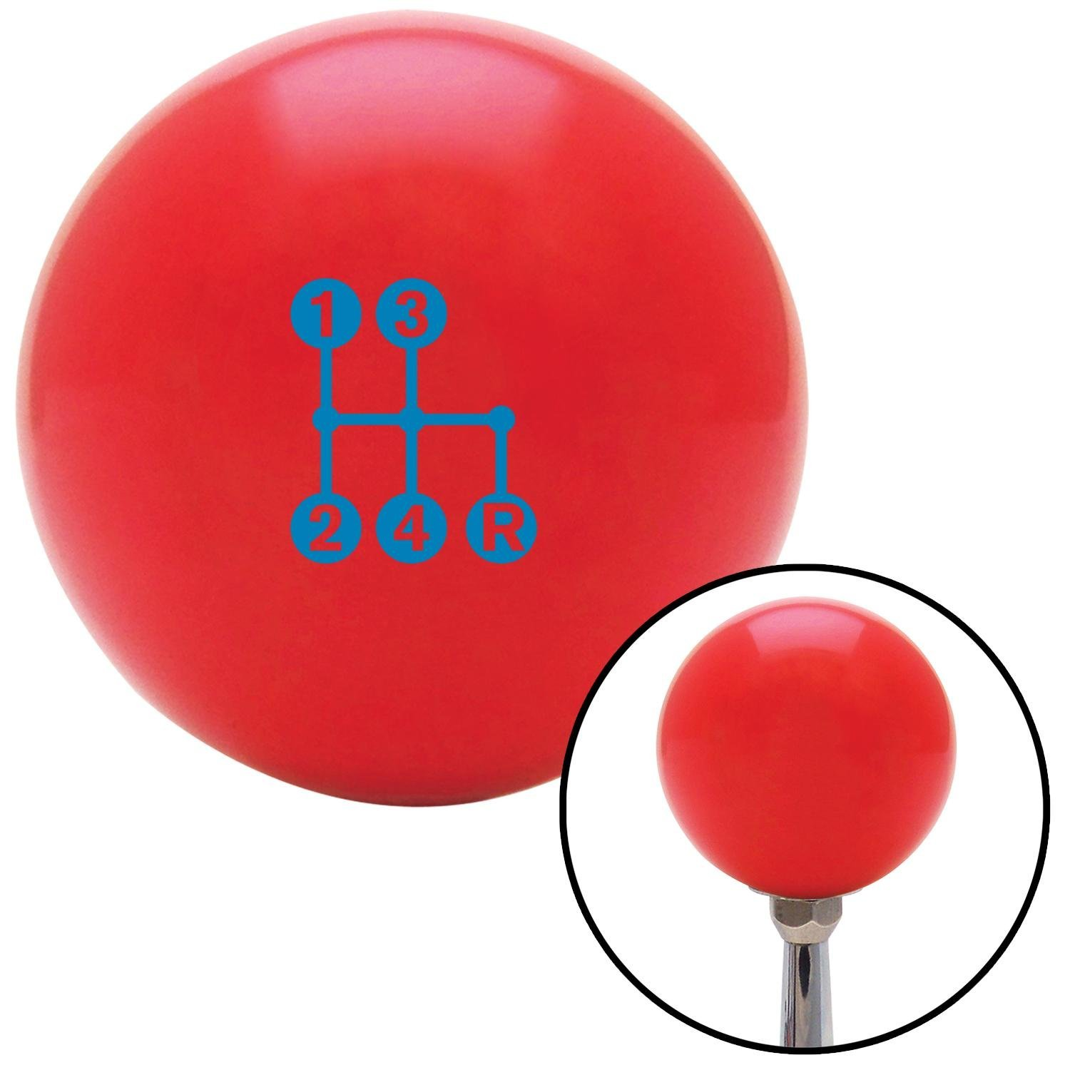Company Blue 4 Speed Shift Pattern - Dots 6n Red with M16 x 1.5 Insert American Shifter 271924 Shift Knob