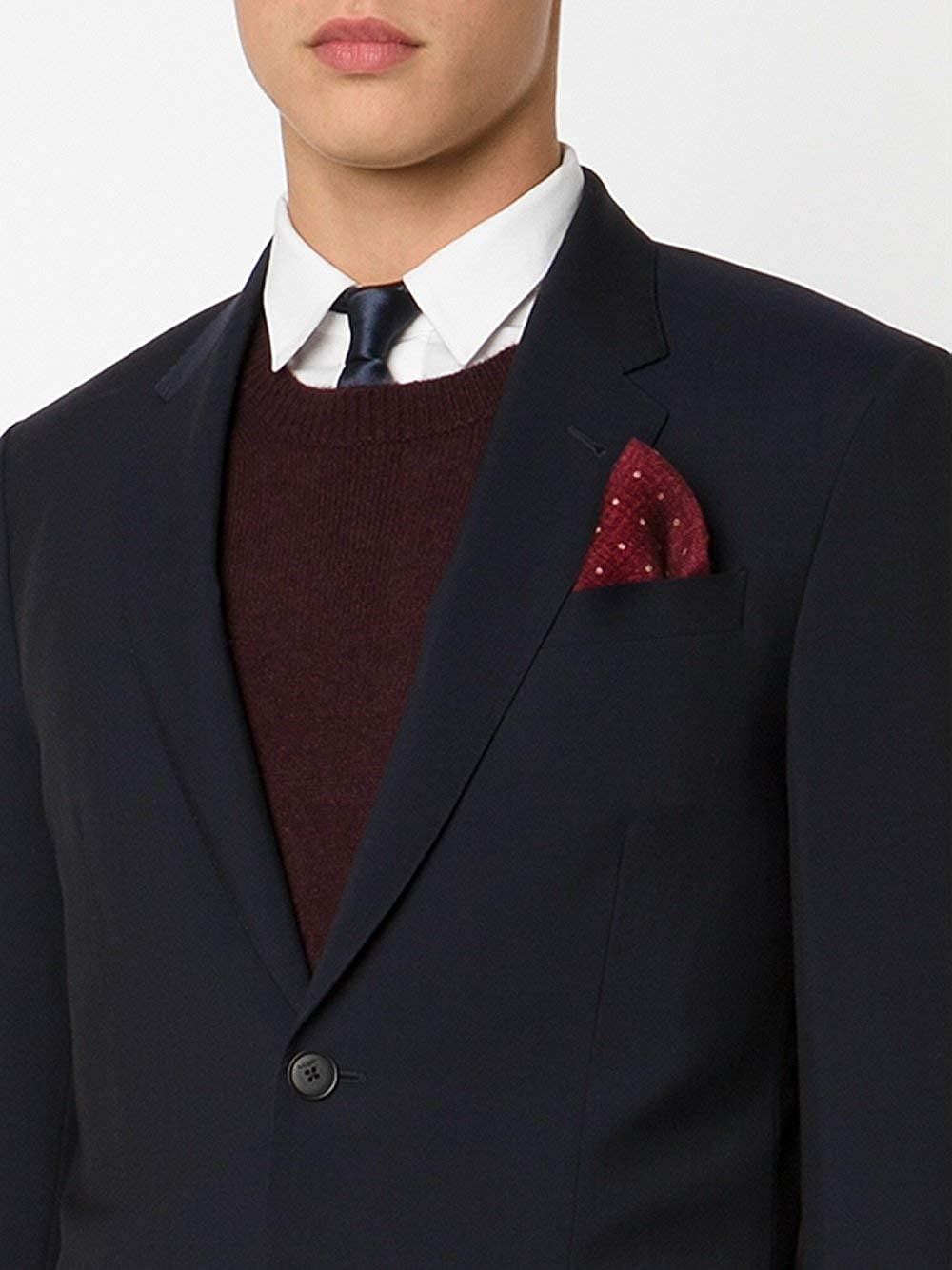 Brunello Cucinelli Red Mixed Print Polka Dot Handkerchief//Pocket Square