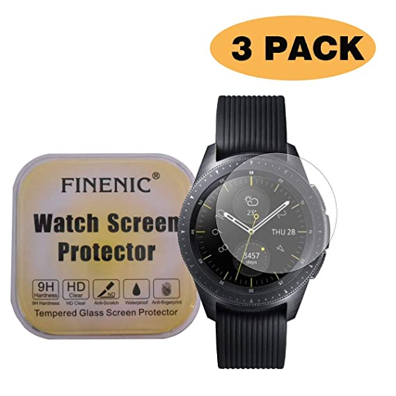 FINENIC【3-Pack】 Compatible for Samsung Galaxy Watch (46mm) / Gear S3 Frontier Samsung smartwatch Tempered Glass Screen Protector.[9H Hardness] ...