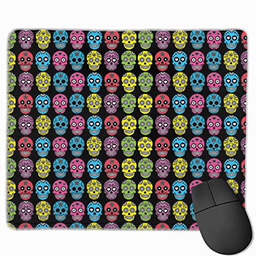 Halloween Mexican Sugar Skull Personalized Design Mouse Pad Gaming Mouse Pad with Stitched Edges Mousepads, Non-Slip Rubber Base, 11.8x9.8 Inch, 3mm Thick - Best Gift Idea