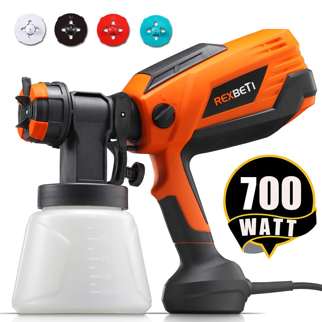 REXBETI 700 Watt High Power Paint Sprayer, 1000ml/min HVLP Home Electric Spray Gun with 1000ml Container, 4 Nozzle Sizes, Easy Spraying and Cleaning, Perfect for Spraying Work