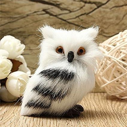 owl white black furry christmas ornament decoration adornment simulation h275