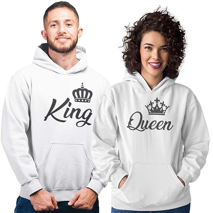 Pack de 2 Sudaderas Blancas para Parejas, King y Queen Corona Negro (Mujer Tamaño